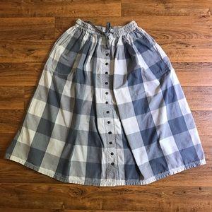Vintage Plaid Skirt Blue Button Down Midi Pockets